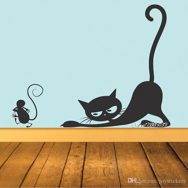 Cat Chasing Mouse Vinyl Wall Stickers Available In Different Colors Wall Decal Decor Kids Room Living Room Mural Poster