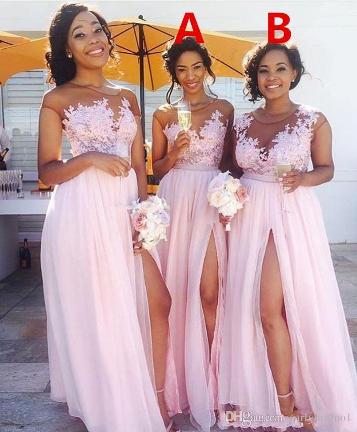 Robe de demoiselle d'honneur rose rose rose Sexy Bijou de jeux de dentelle Approche de dentelle Maid d'honneur Hear Robe Split Formel Robes de soirée Gîte de mariage