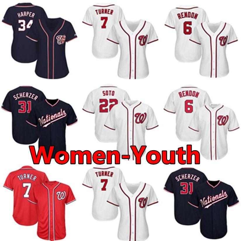 جديد واشنطن مخصص وطني إمرأة شباب كيد جيرسي أنتوني رندون ماكس شيرزر جوان سوتو تريل ريان زيمرمان البيسبول الفانيلة