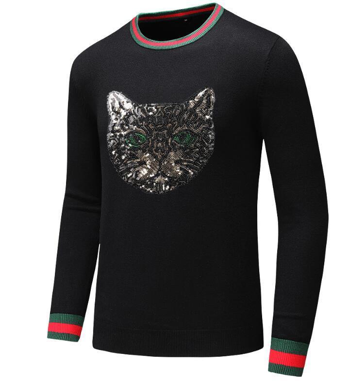 MenSweaters abbigliamento caldo autunno Collo Maglioni nero per l'uomo in cotone lavorato a maglia Maschio Maglioni # 11111