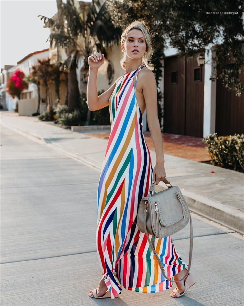 Asymmetrica Висячие шеи Backless Sexy богемские платья женщин лета платья без рукавов V-образным вырезом ремень цветочным дизайнером одежды