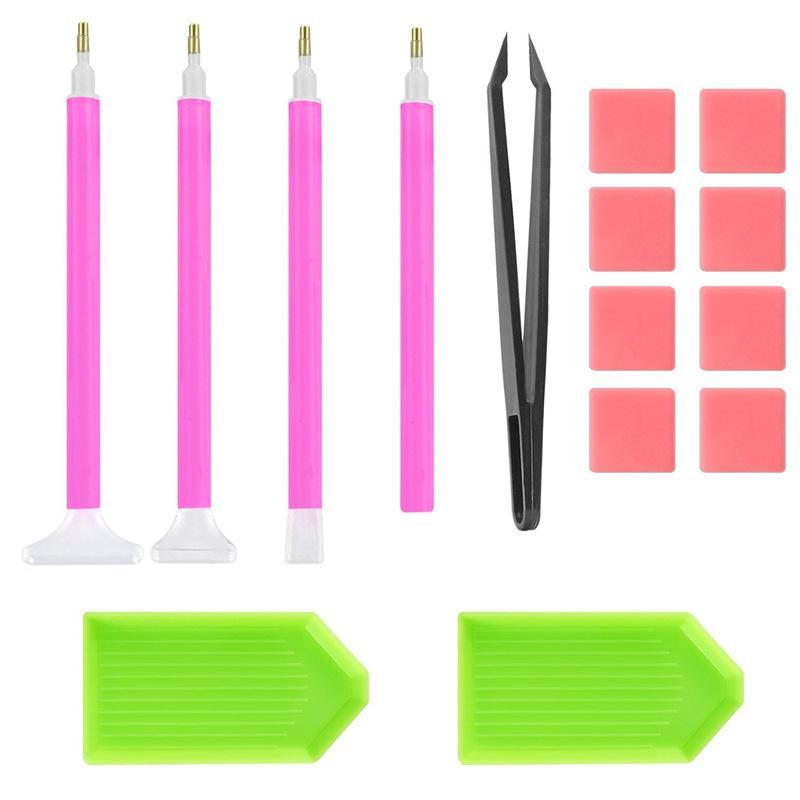 15 pezzi di kit di strumenti di pittura con diamante Principiante Fai da te 5D Set di strumenti per pittura con pinzette per colla Vassoio di plastica Penna ad ago 4 8bb E1
