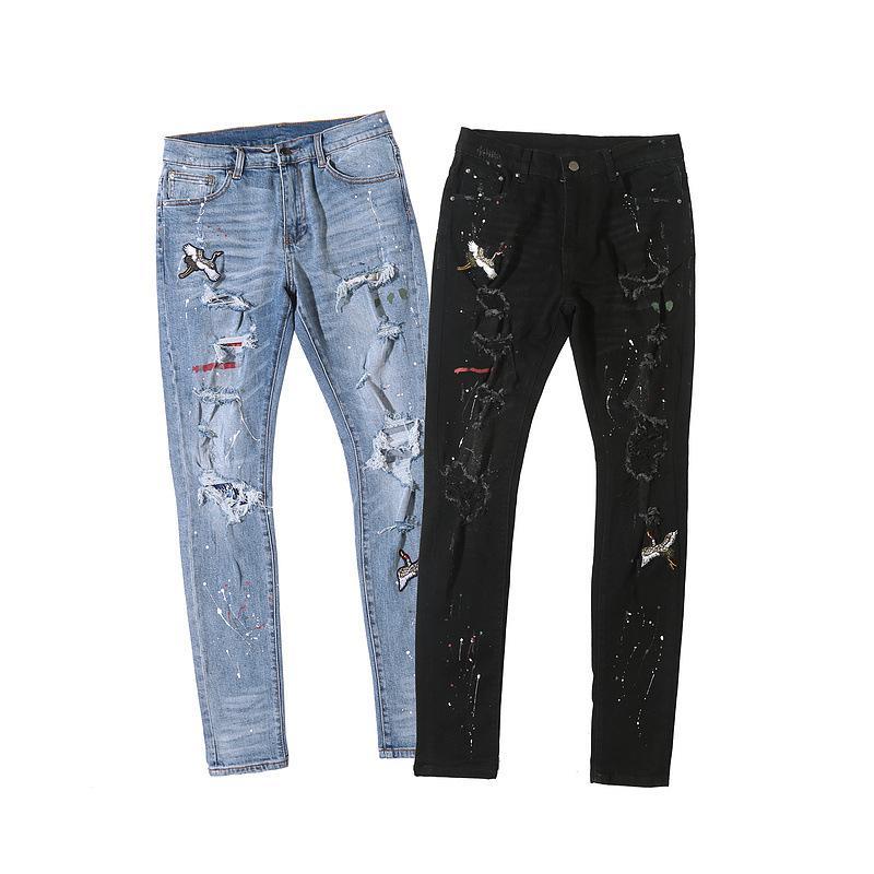 2020 Уникальные мужские Crane вышивки High Street Классический нож Cut Шлифование отверстий Beam Black Разрушительное Stretch джинсы Модельер Тощий