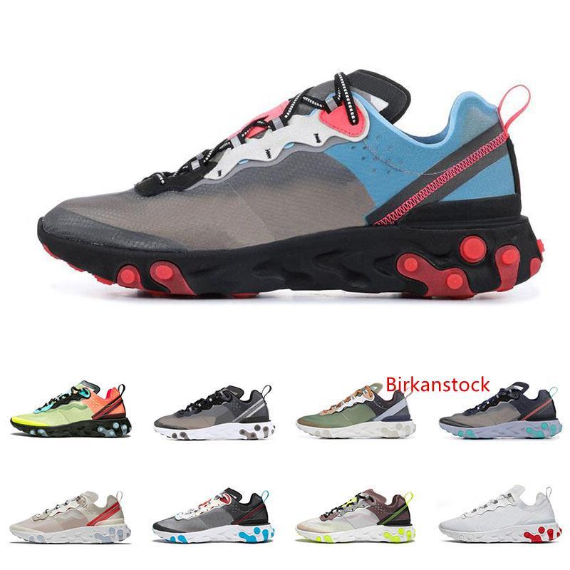 Reagir Elemento 87 55 tênis de corrida para mulheres dos homens preto cinza escuro da universidade VERMELHO dos homens da forma instrutores das sapatilhas esportivas leves