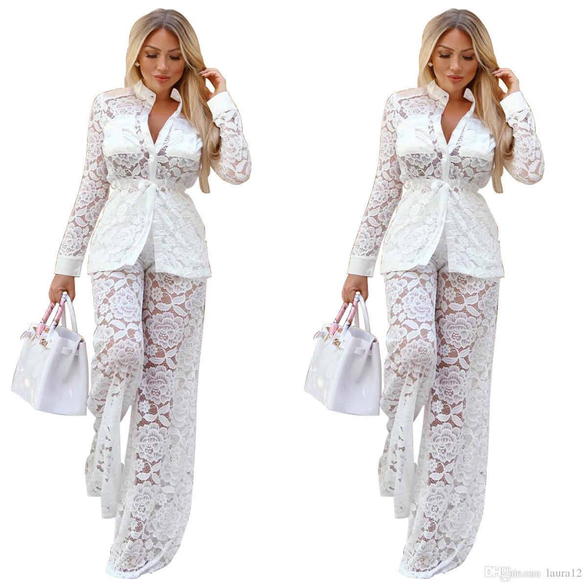 2019 neue weiße spitze mode frauen zwei stücke kausalen outfits lange ärmel v-ausschnitt tops und lange breite beinhosen party club kleidung