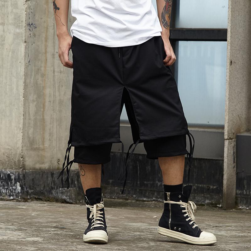 Männer High Street Double Layer Gespleißt Lose Beiläufige Rock Hosen Männliche Streetwear Hip Hop Punk Gothic Haremshose Japan Pant