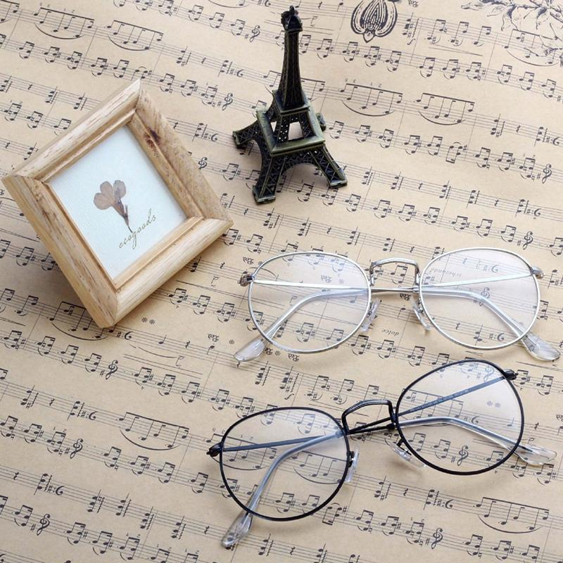 Новый год сбора винограда Мужчины Женщины Оправа очки Круглые очки прозрачные линзы Оптические