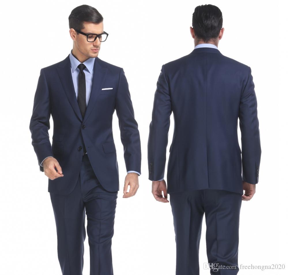 Royal Blue Zweiteilige Geschäfts Party Männer Anzüge 2020 fallendem Revers Trim Fit mit zwei Knöpfen Hochzeit Bräutigam Smoking Neu (Jacket + Pants)