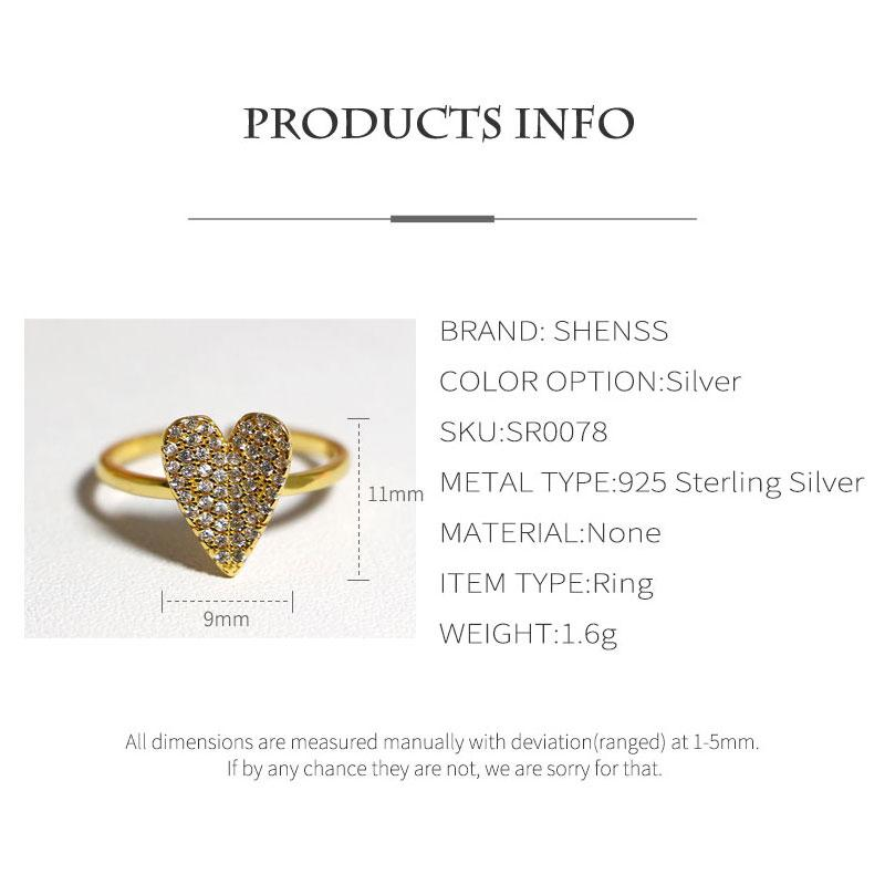 925 Rings Adjustable Fashion Love Heart Zircon Ring 925 Sterling Silver Ring for Women