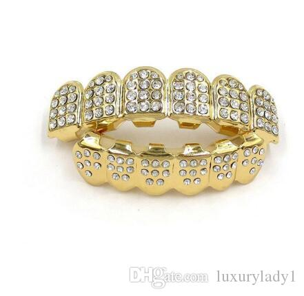 Hip Hop Gold Silver Iced Out CZ Teeth Grillz Top Bottom Bling Vampire Teeth Caps Men Women Mouth Body Jewelry New
