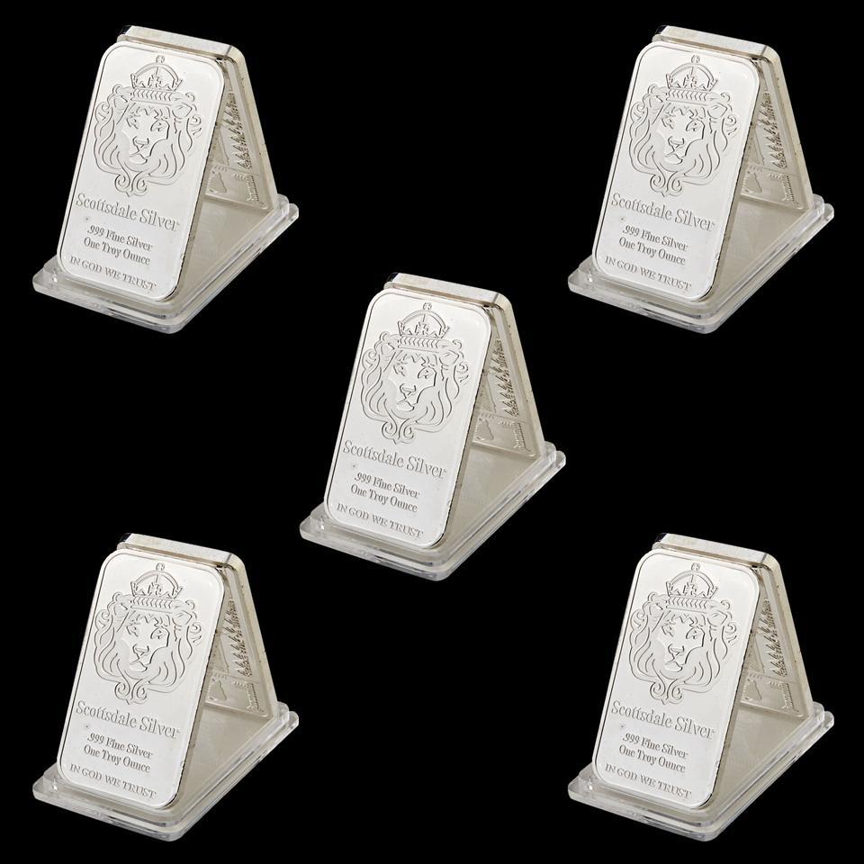 5pcs Rare 999 Fine Silver One Troy Ounce USA Scottsdale 1oz Silver Plated Metal Souvenir Bullion Bars