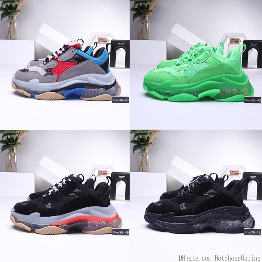 Diseñador de los zapatos ocasionales de la caja original Triple S París 17fw baja Old Dad la zapatilla de deporte Claro tamaño de burbuja media suela para mujer para hombre de moda de alta calidad de 36-45