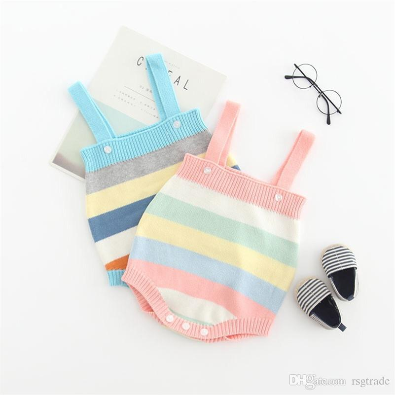 Autumn Newborn Sweater Rompers Rainbow Stripes Shoulder Buttons Fall Spring Knitting Cotton Baby Boys Girls Jumpsuits Sleeveless Onesies