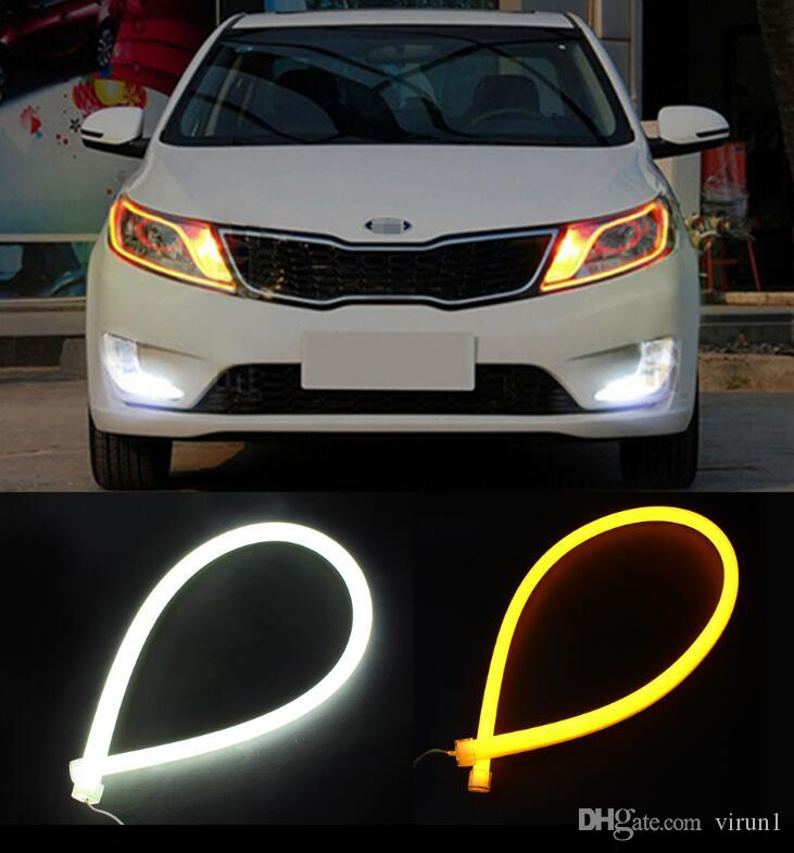 60 cm Variável DRL LED Bar Tubo Tira Flexível Led Luz de circulação diurna Acessórios de Estilo de Carro Para Ford BMW e46 e39 Toyota vw