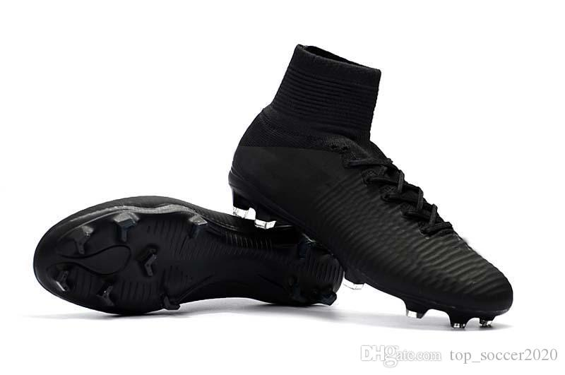 Best Quality All Black Soccer Cleats Mercurial Superfly V TF/IC FG Ronaldo CR7 Football Boots Mens/Kids/Womens Soccer Shoes Sneakers