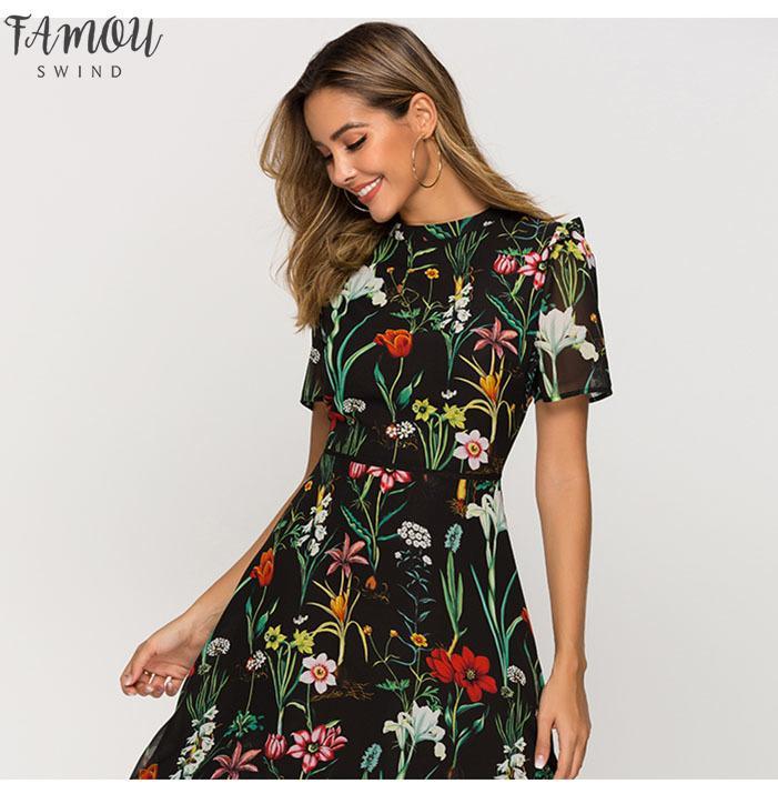 С коротким рукавом печати платье Женский нового способа шифоновое Слим-линии платье богемского выдалбливают Vestidos