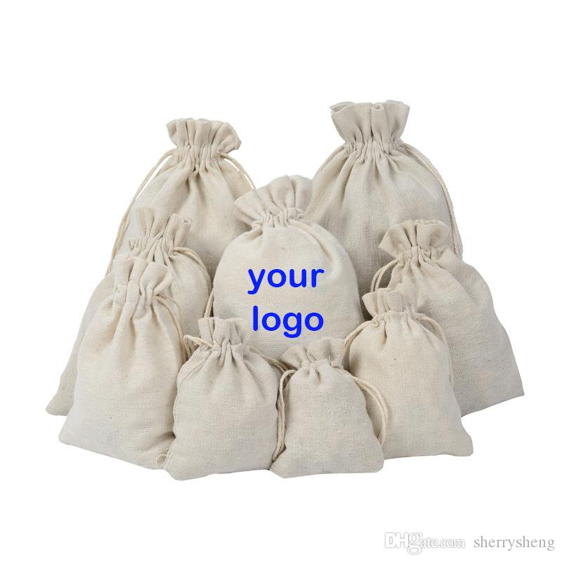 البوليستر القطن قماش كيس الرباط حمل رسم سلسلة حقيبة صديقة للبيئة أكياس تخزين سلة هدية يقبل الشعار مخصصة