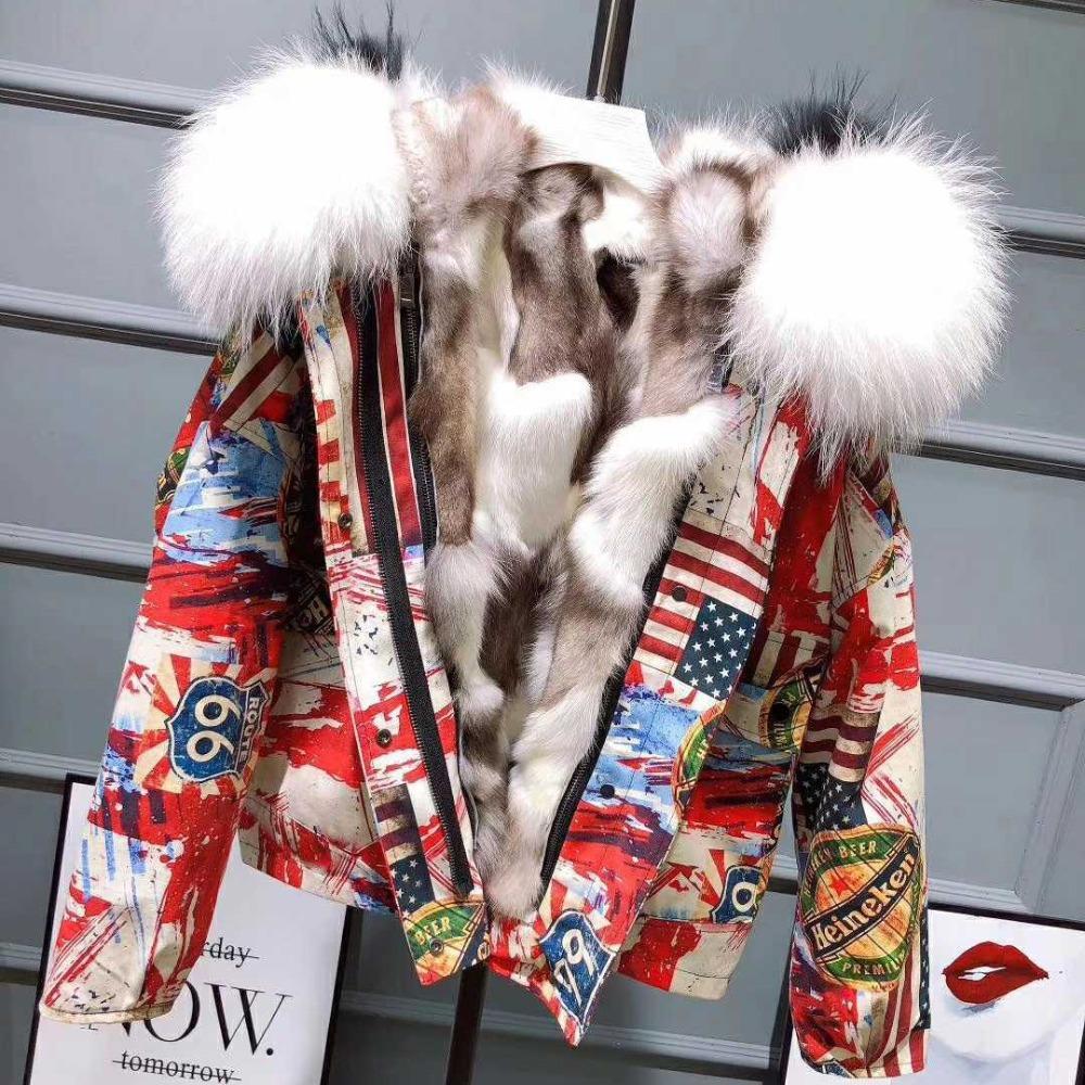 여성을위한 겨울 파카 2018 새로운 두꺼워 따뜻한 추상적 인 프린트 재킷 실제 모피 내부 대형 모피 칼라 겨울 자켓 코트