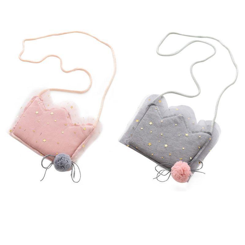 Cotton Cartoon Baby Handbag Sweet Princess Imperial Crown Bag Girls Fabric Diagonal Baby Cute Coin Purse