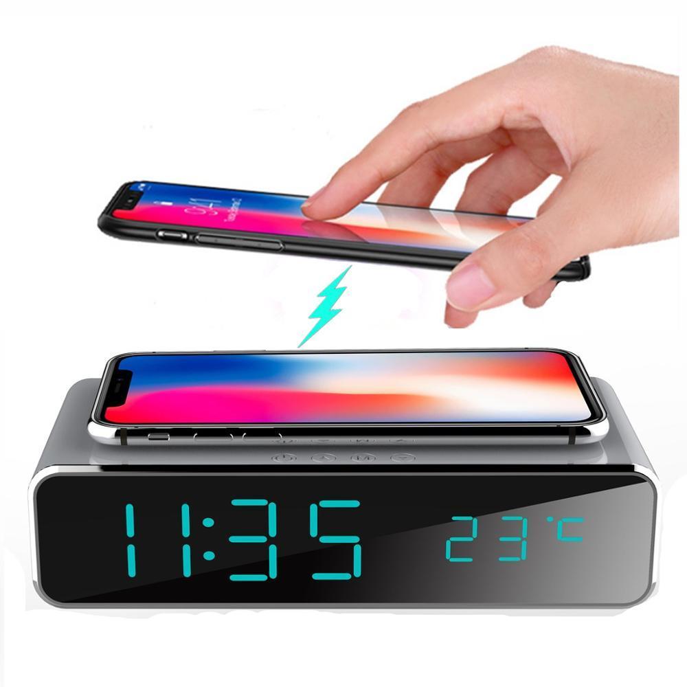 tarih 12/24 h anahtarı ile telefon kablosuz şarj Masaüstü dijital termometre saat HD ayna saati ile Elektrik LED çalar saat