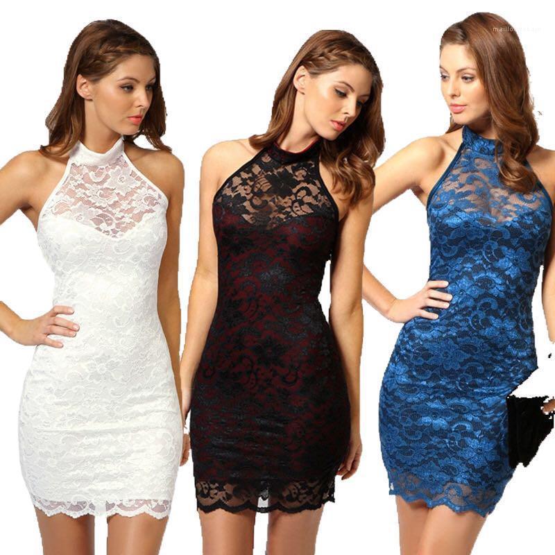 Eleganter Stehkragen Halter Backless Enges Kleid Womens Party-Kleid-reizvolle Spitze-Frauen-Sommer-Kleider Mode
