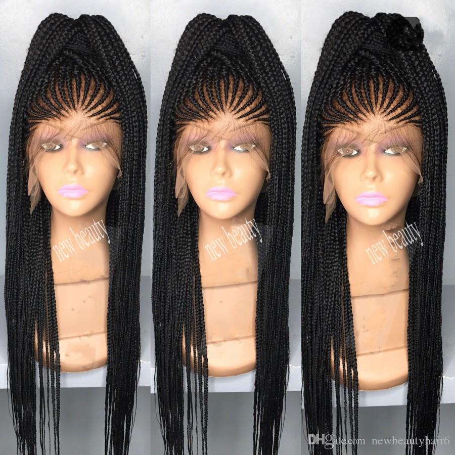 África mulheres estilo cornrows Trança peruca longa 200density completo micro trança perucas com cabelo do bebê jumbo trança peruca dianteira do laço