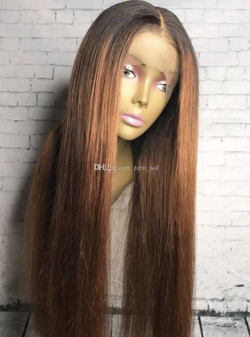 Free Shipping Ombre 1b/30# Color Brazilian Human Hair Full Lace Wig Silky Straight Two Tone Lace Front Wig 130% density