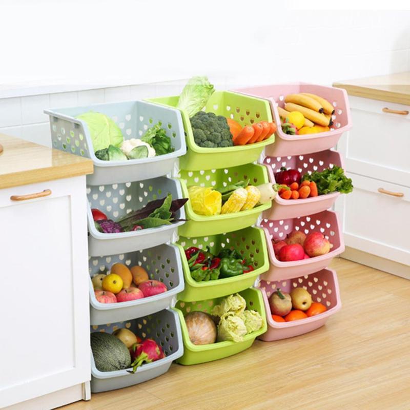 تكويم واحدة ذات الطابقين الفاكهة الخضار صندوق التخزين المنظم مطبخ سلة الجرف مصنوعة من مواد عالية الجودة PP