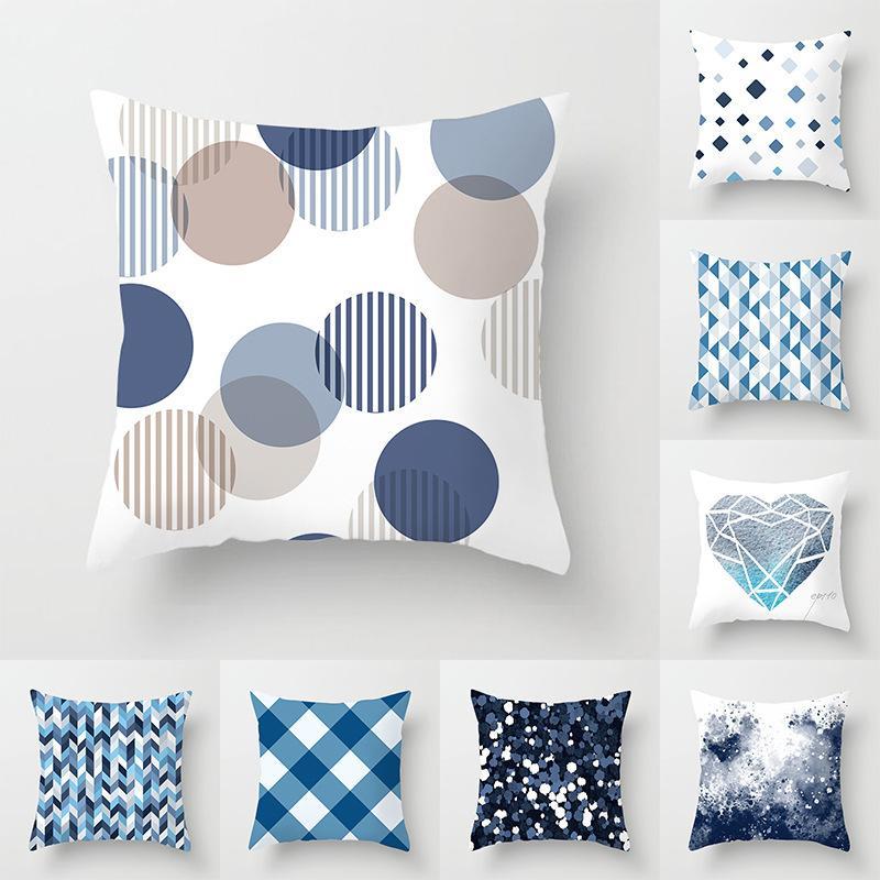 Nouveau bleu géométrique Coussin peachskin Canapé décoratif Coussins Coussin 45 * 45cm pour Home Living Rome Jeter Taie