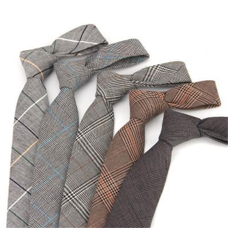 6 cm zakelijke stropdas voor mannen plaid stropdas katoenen nek stropdas magere grijze stropdassen voor pak heren nekkleding 2pcs / lot