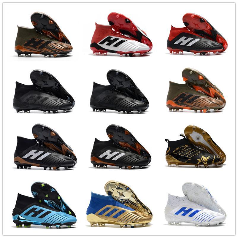 2019 Shoes Hot Predator 18 19+ 19,1 FG PP Paul Pogba laceless virtuso Mens Golden Boys de Futebol Futebol Tamanho 19 + x chuteiras Botas barato 39-45