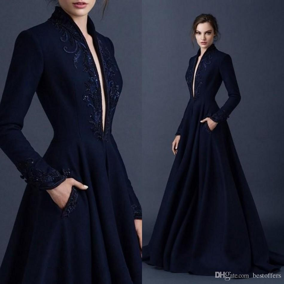 Vintage Navy Blue Satin Evening Dresses 2019 Embroidery Paolo Sebastian Dresses Beaded Party Ball Gown Plunging V Neck Prom Dress BA9490