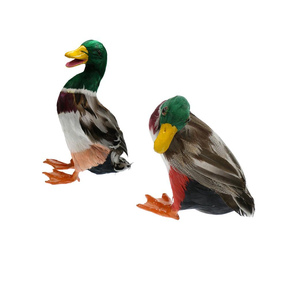 1 Paar Realistische Mallard Duck Ornament Decoy-Hausgarten-Wasser-Teich-Dekor