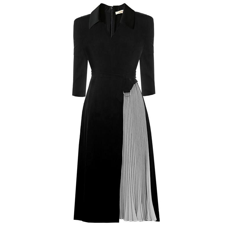 2019 осень черный сплошной цвет лоскутное пояса середины икры с длинным рукавом V шеи мода взлетно-посадочной полосы платья Vestidos 9N8YDY9D