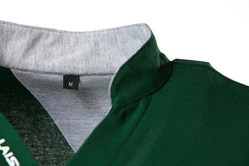Новый стиль Мужчины Стенд Воротник высокого качества с коротким рукавом рубашки поло Slim Fit вышивки литерных сплошной цвет вскользь короткими рукавами S