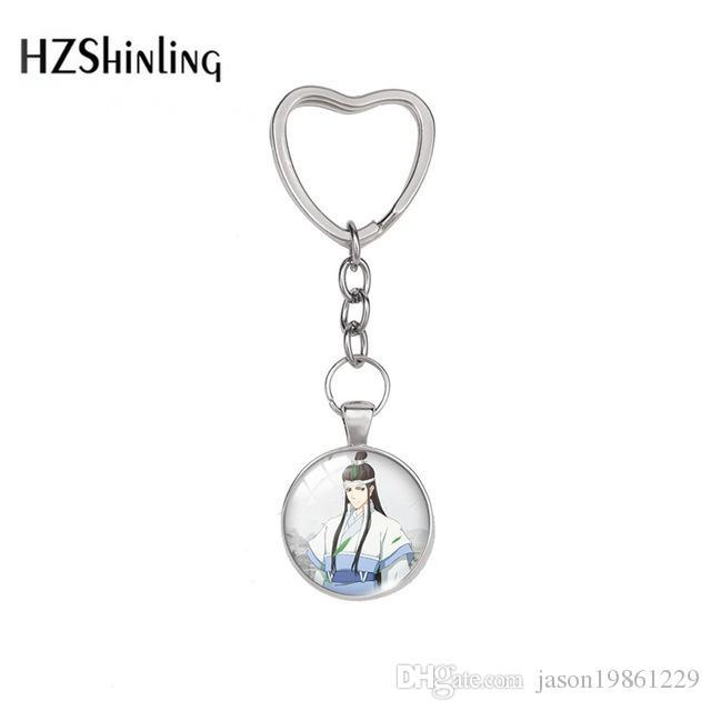 2019 New Fashion Modaozushi Cartoon Drama Lovely Keychain With Heart Shape Glass Cabochon Jewelry Girls