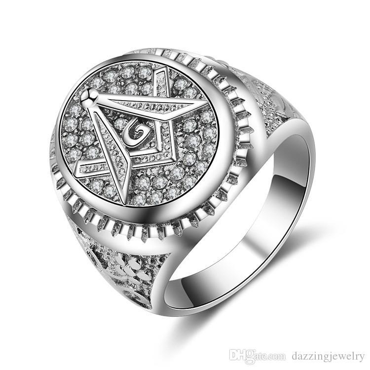 Nova Moda Única Prata Preta Ouro Micro Pave Cristal cz Aço Inoxidável Maçonaria Bússola Quadrado Personalizado Mason Mason Emblema Sinais Anéis