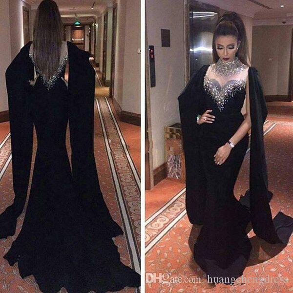 2019 Haifa Wahbe Frisado Preto Vestidos de Noite Sexy Capa Estilo Últimas Sereias Vestidos de Noite Dubai Árabe Vestidos de Festa baile