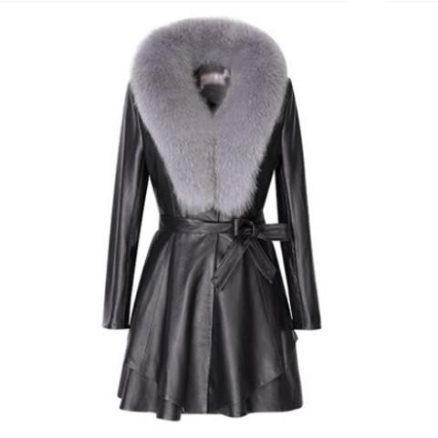 cappotto di cuoio delle donne della pelliccia del cuoio lunga finto giacche sottili big-pelliccia moda collare signora elegante outwear top coat