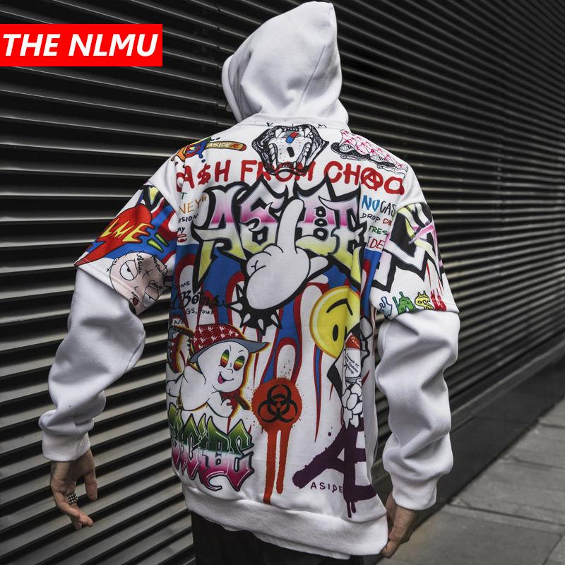 Hoodies Hip Hop Homens Mulheres 2019 Outono Inverno Carta Graffiti Impresso Pulôver Moalha Masculino Moda Streetwear Suéter WG343
