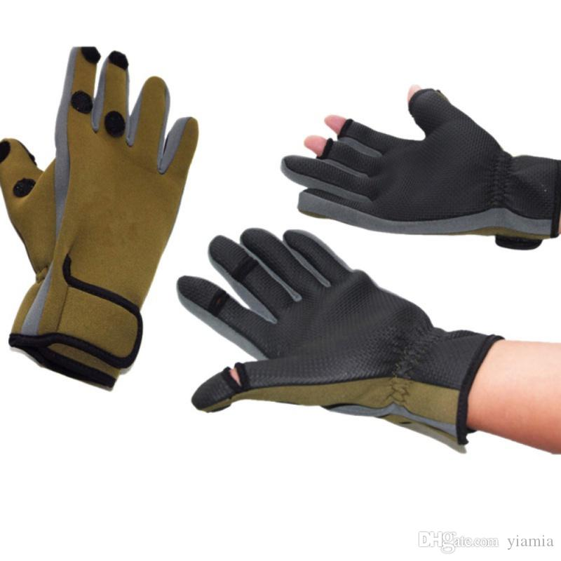 Waterproof Outdoor Sports Non-slip Fishing Gear Gloves Riding Cold Gloves Can be Exposed Three Fingers Wear Fishing Glove