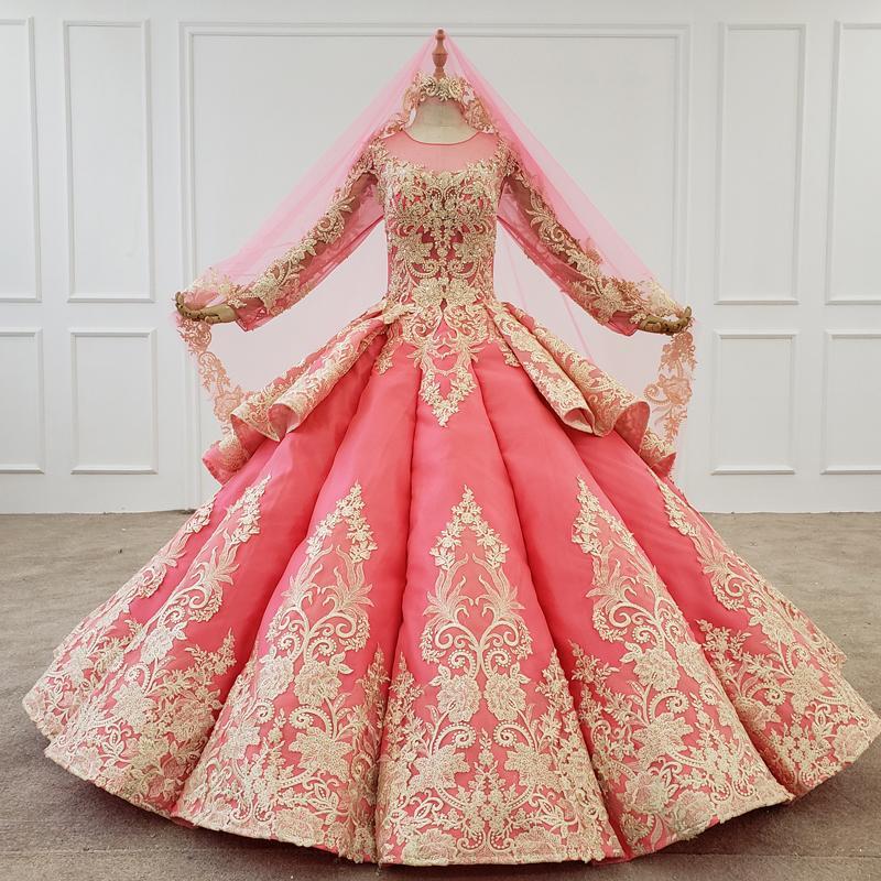 Новый Пром Вечернее платье с длинными Veil Иллюзия O шеи Полный Тюль рукава ручной аппликациями Розовый вечер Бальные платья Vestidos De Finalistas