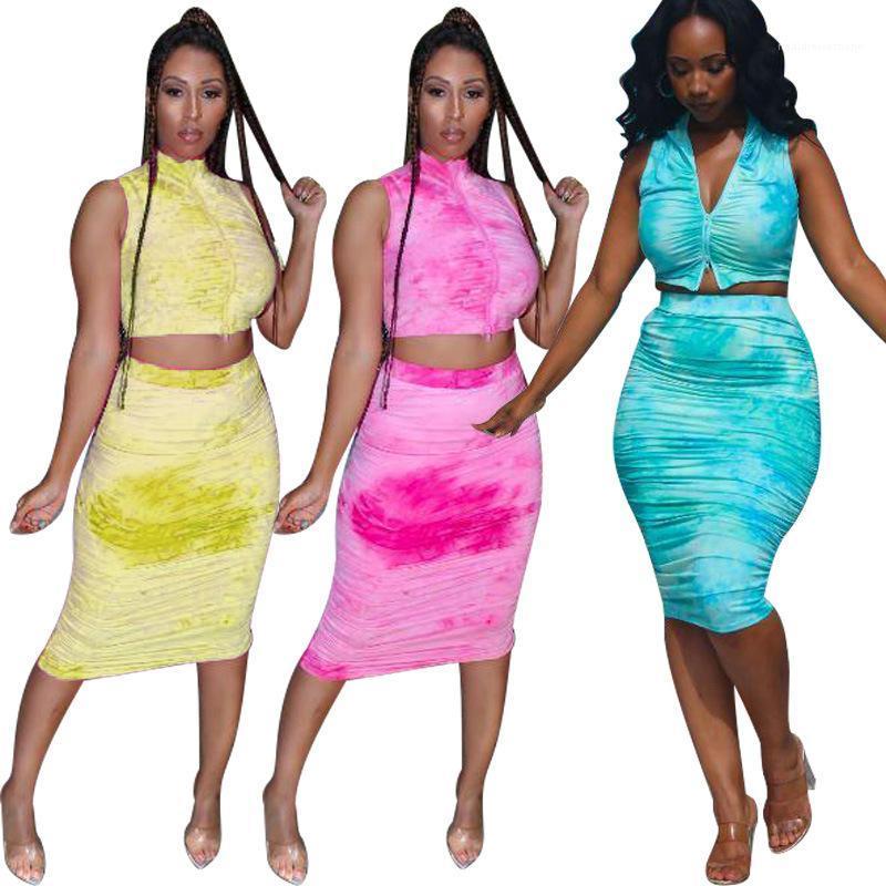 Pezzo sexy Summer Dress Tie-tinto Skinny Stacked due pezzi Imposta Moda Abbigliamento casual femminile Donne Designer 2