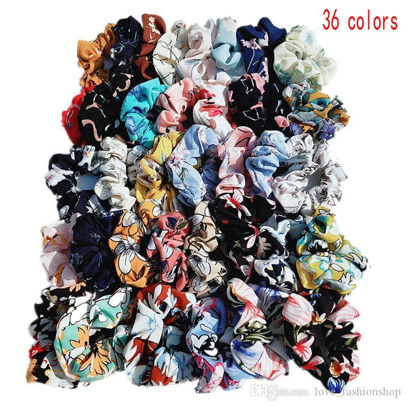 36 لون إمرأة الاطفال الشيفون الأزهار المطبوعة scrunchies شعر hairbands حلقة الشعر الفرقة حبل الأطفال ذيل حصان غطاء الرأس اكسسوارات للشعر الاطفال