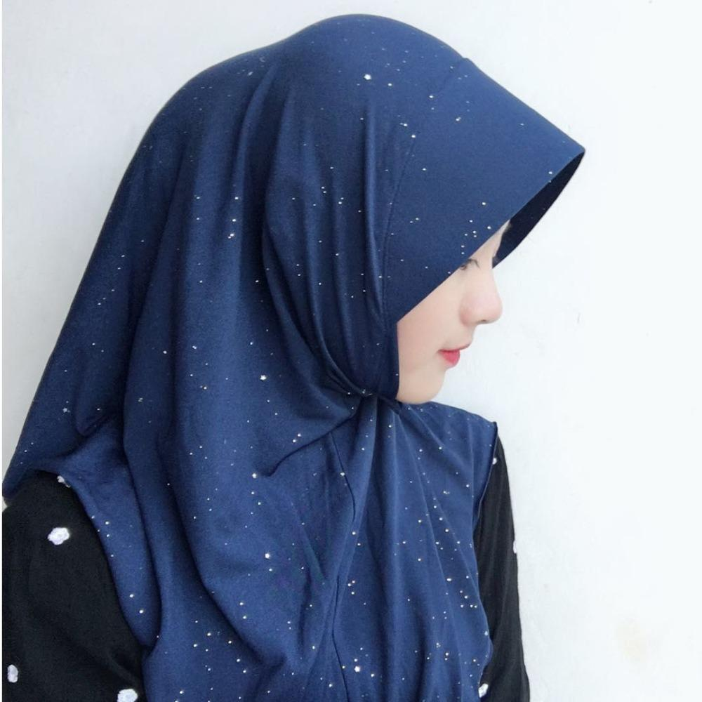 Diamond Cotton One Piece Instant Muslim Hijab Head wear Head scarf
