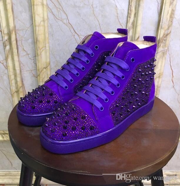 Haute Qualité Blue Suede + Mix Spikes High Top Red Sneakers Bas pour les femmes, les hommes célèbres Designer Casual Marche Party Formateurs avec la boîte