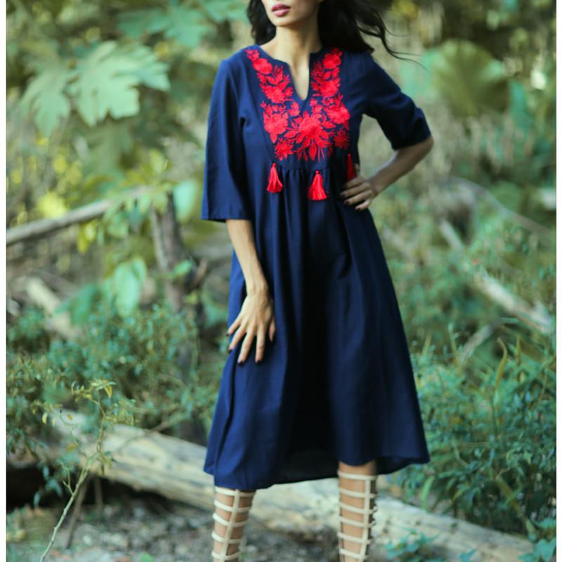 Khalee Yose mujeres florales de la vendimia el vestido del bordado vestidos de verano de Boho del Hippie Chic Vestido Tassles Beach vacaciones vestidos elegantes