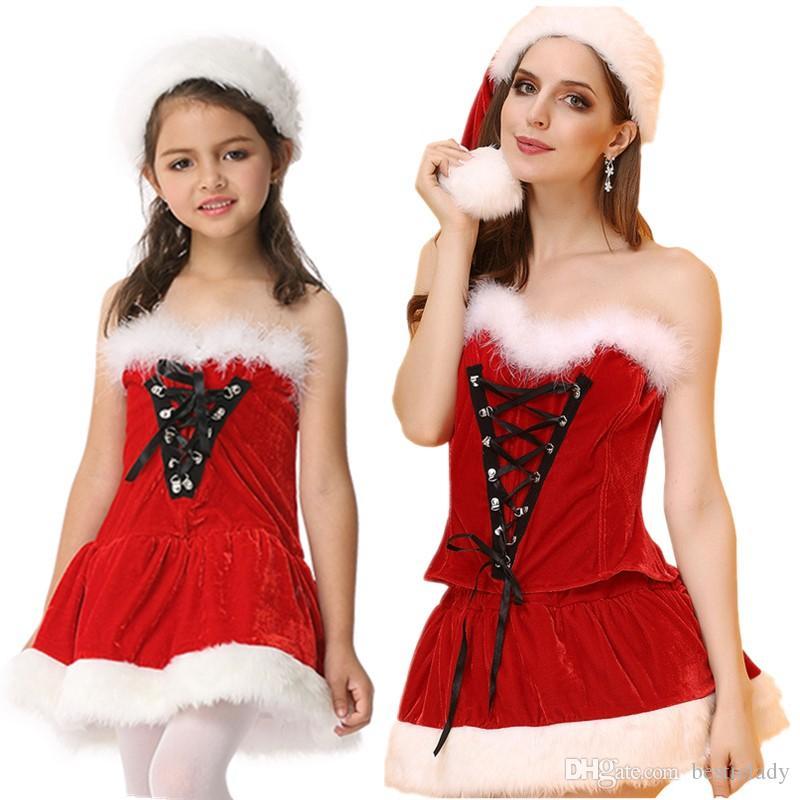 Г-жа Санта-костюм Рождество Outfit с белым Fuzzy Трим для девочек и женщин шнуровке Корсет Бюстье Top N Юбка Hat Set Clubwear M-XXL