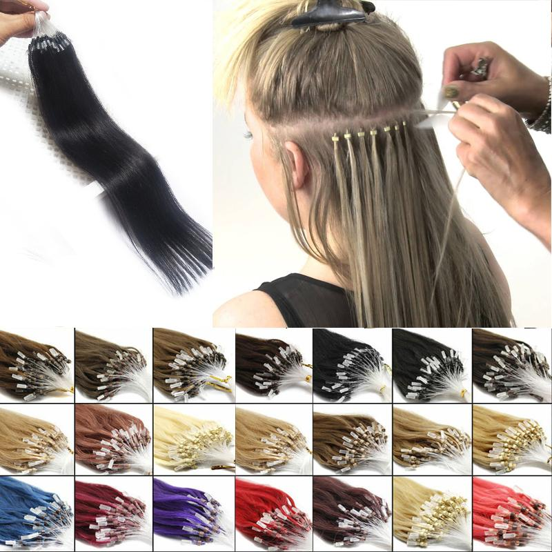 Loop Micro Ring Hair Extension 100% Remy Human Hair Extension Nano Ring14-24inch Natural Black Brown Blonde 10 Colors 100s/pack Cheap