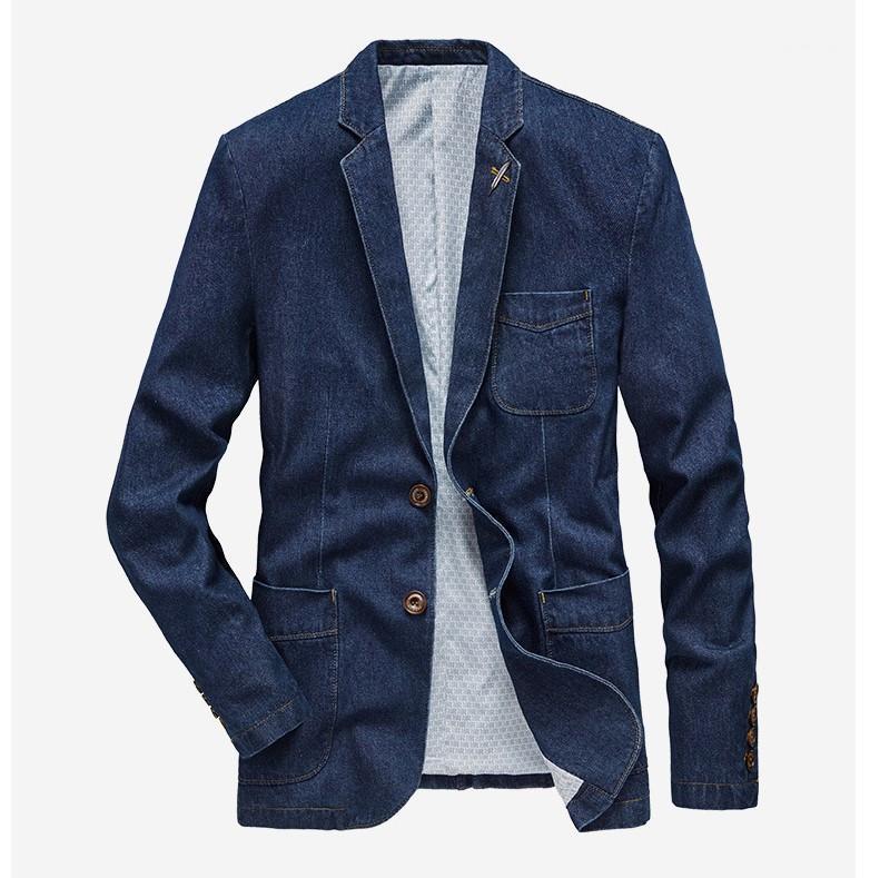 Nakış Kasetli Tek Breasted Erkek Jean Blazers Casual Erkek Giyim İnce Erkek Tasarımcı Jean Suits Moda